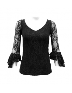 LACE SHIRT, BLACK COLOR