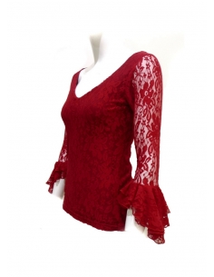LACE SHIRT, RED COLOR