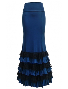 LACE FRILL SKIRT, BLUE PETROL & BLACK COLOR