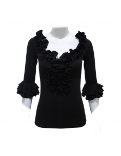 FRILL SHIRT, BLACK COLOR