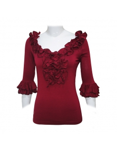 FRILL SHIRT, 'RIOJA' RED COLOR