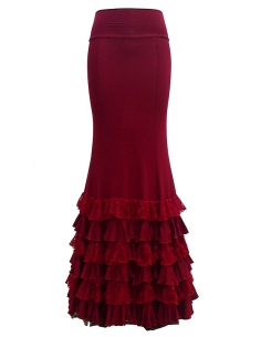 LACE FRILL SKIRT, 'RIOJA' RED COLOR