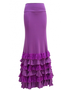 LACE FRILL SKIRT, MAGENTA COLOR