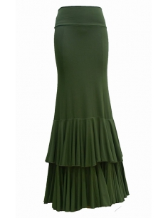 TWO BIG FRILL SKIRT, OLIVE GREEN COLOR
