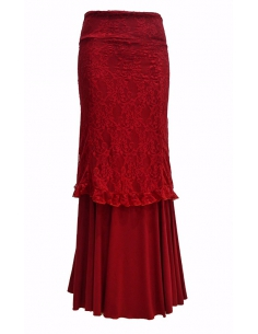 DOUBLE LACE SKIRT, 'RIOJA' RED COLOR