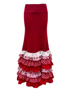 FRILL SKIRT, RED AND WHITE COLOR