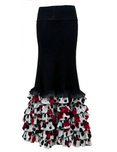 FRILL SKIRT, BLACK, WHITE AND RED COLOR
