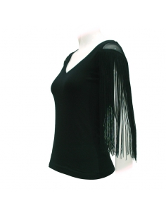 SHIRT WITH TULLE AND FRINGES SHOULDERS, BLACK COLOR