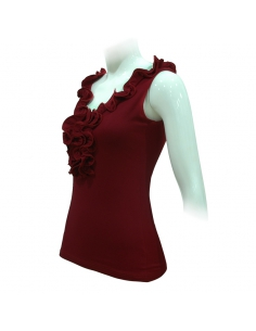 LACE SHIRT WITHOUT SLEEVES, 'VINEYARD' RED COLOR
