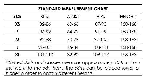 Standard measurement chart knitted